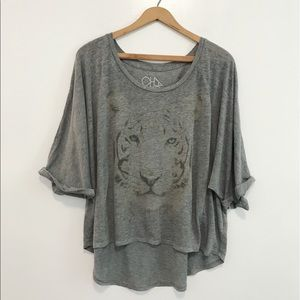 Chaser tiger graphic Heathered flowy tee shirt